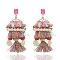 Mode Statement Ohrring, Zinklegierung, mit ABS-Kunststoff-Perlen & Baumwolle Schnur & Acryl, Edelstahl Stecker, goldfarben plattiert, frei von Blei & Kadmium, 40x80mm, verkauft von Paar