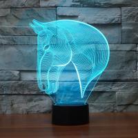 Nacht LED-Licht neben 3D-Lampe, Acryl, mit ABS Kunststoff, Pferd, automatisch die Farbe wechseln & verschiedene Stile für Wahl, 184x87x239mm, verkauft von PC