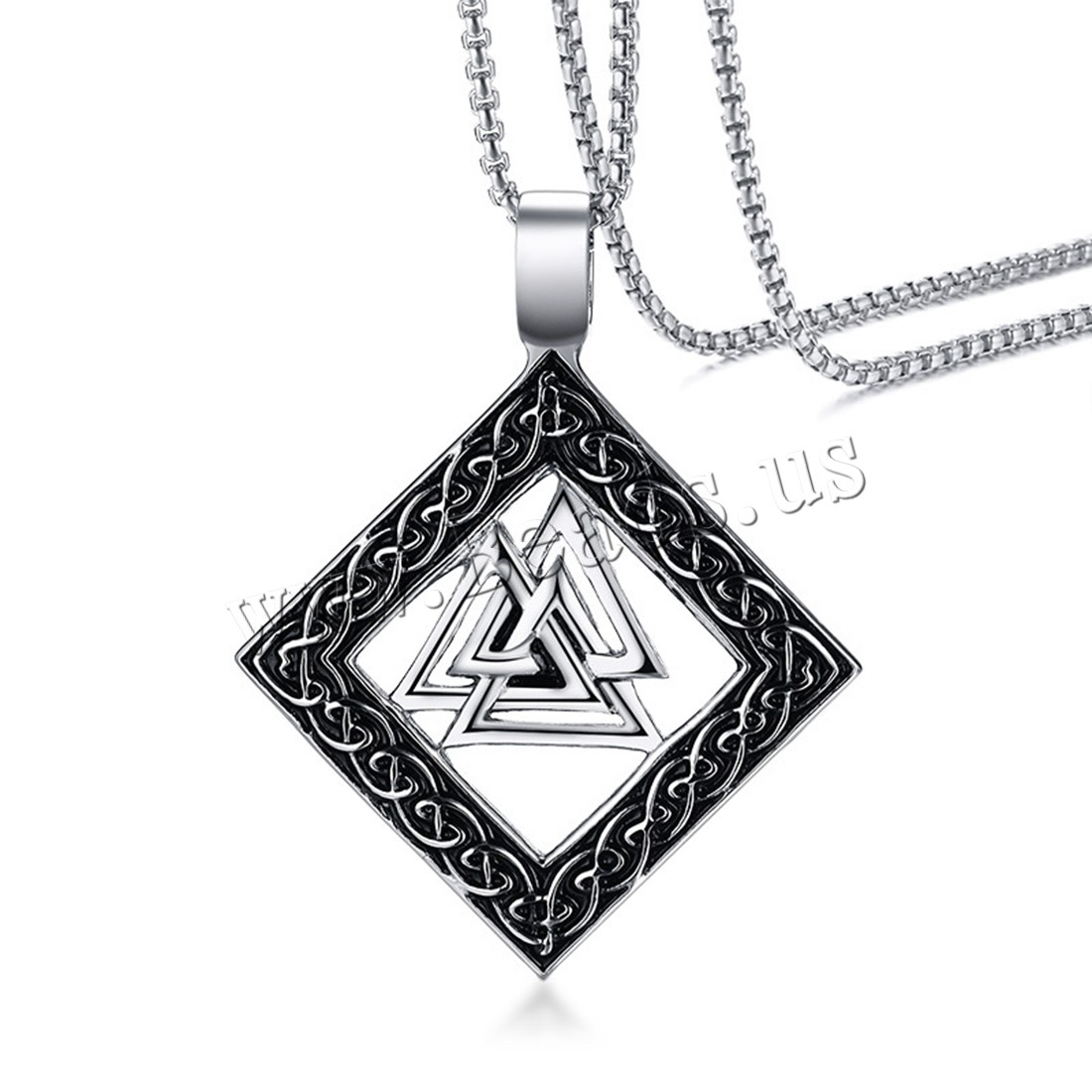 Buy Stainless Steel Sweater Necklace box chain & man & blacken 45x56.5mm Sold Per Approx 23.6 Inch Strand