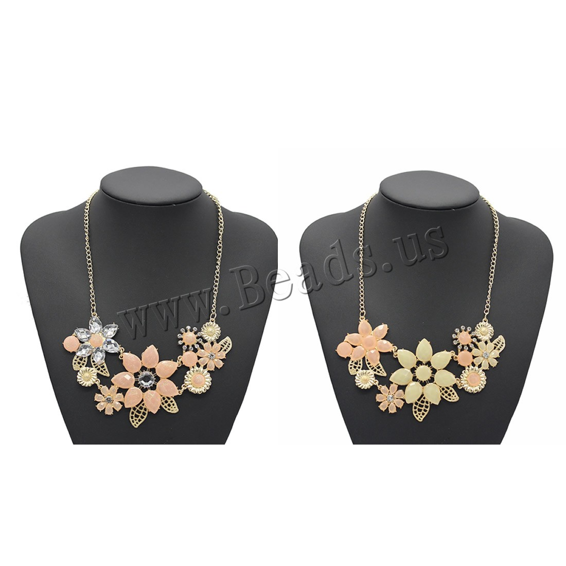 Buy Resin Necklace Zinc Alloy Crystal & Resin 5cm extender chain Flower gold color plated twist oval chain & woman & faceted & rhinestone colors choice lead & cadmium free 450mm Sold Per Approx 17.5 Inch Strand