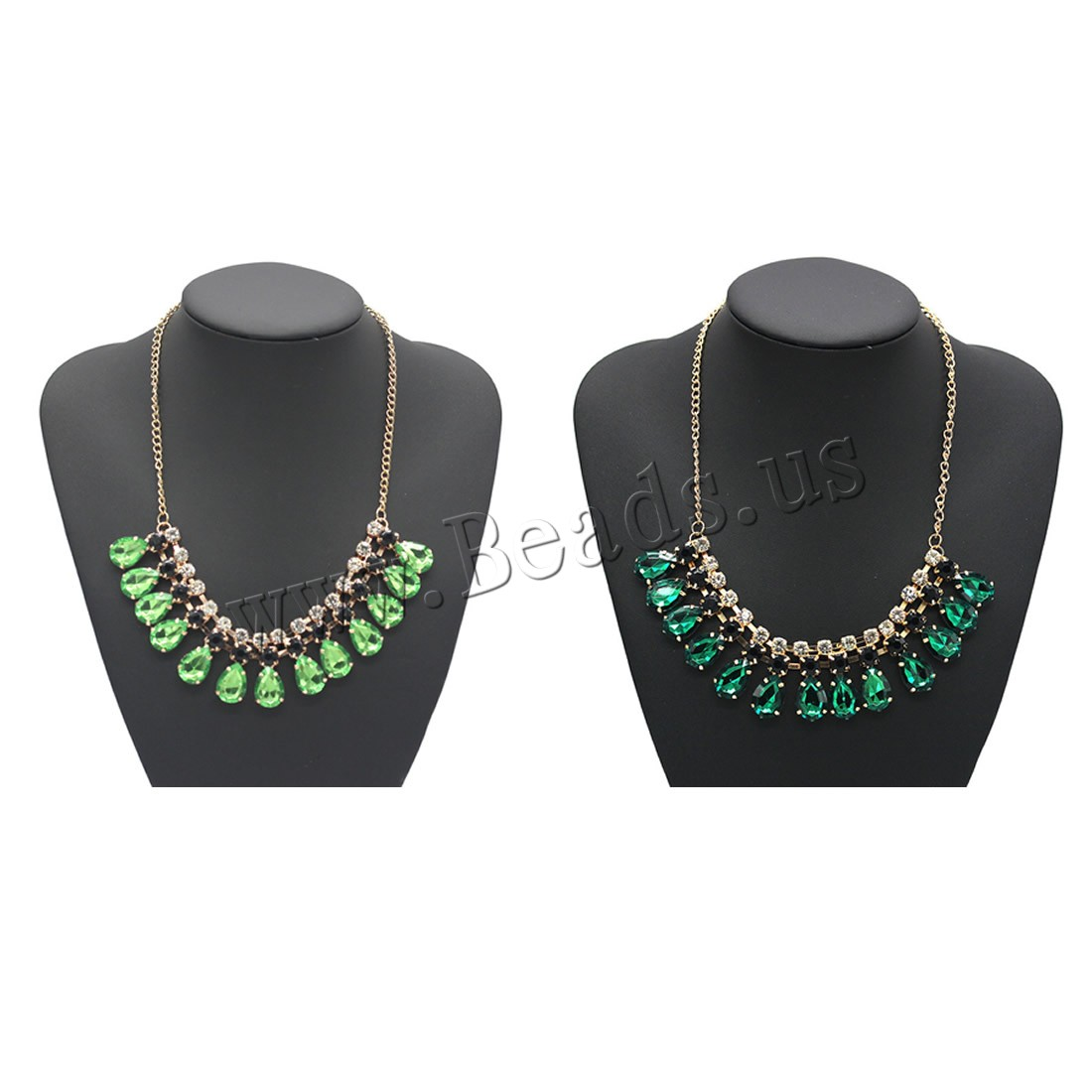 Buy Crystal Zinc Alloy Necklace Crystal 5cm extender chain gold color plated twist oval chain & woman & faceted & rhinestone colors choice lead & cadmium free 450mm Sold Per Approx 17.5 Inch Strand