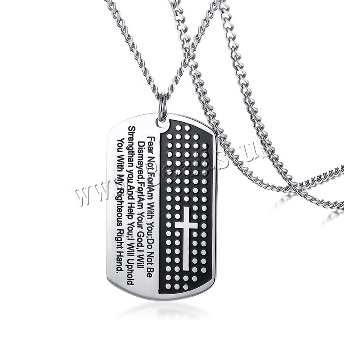 Buy Stainless Steel Sweater Necklace Christian Jewelry & twist oval chain & letter pattern & man & enamel original color 30x51mm Sold Per Approx 23.6 Inch Strand