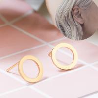 Edelstahl Ohrstecker, Messing Stecker, Kreisring, plattiert, für Frau, keine, frei von Nickel, Blei & Kadmium, 10x10mm, verkauft von Paar