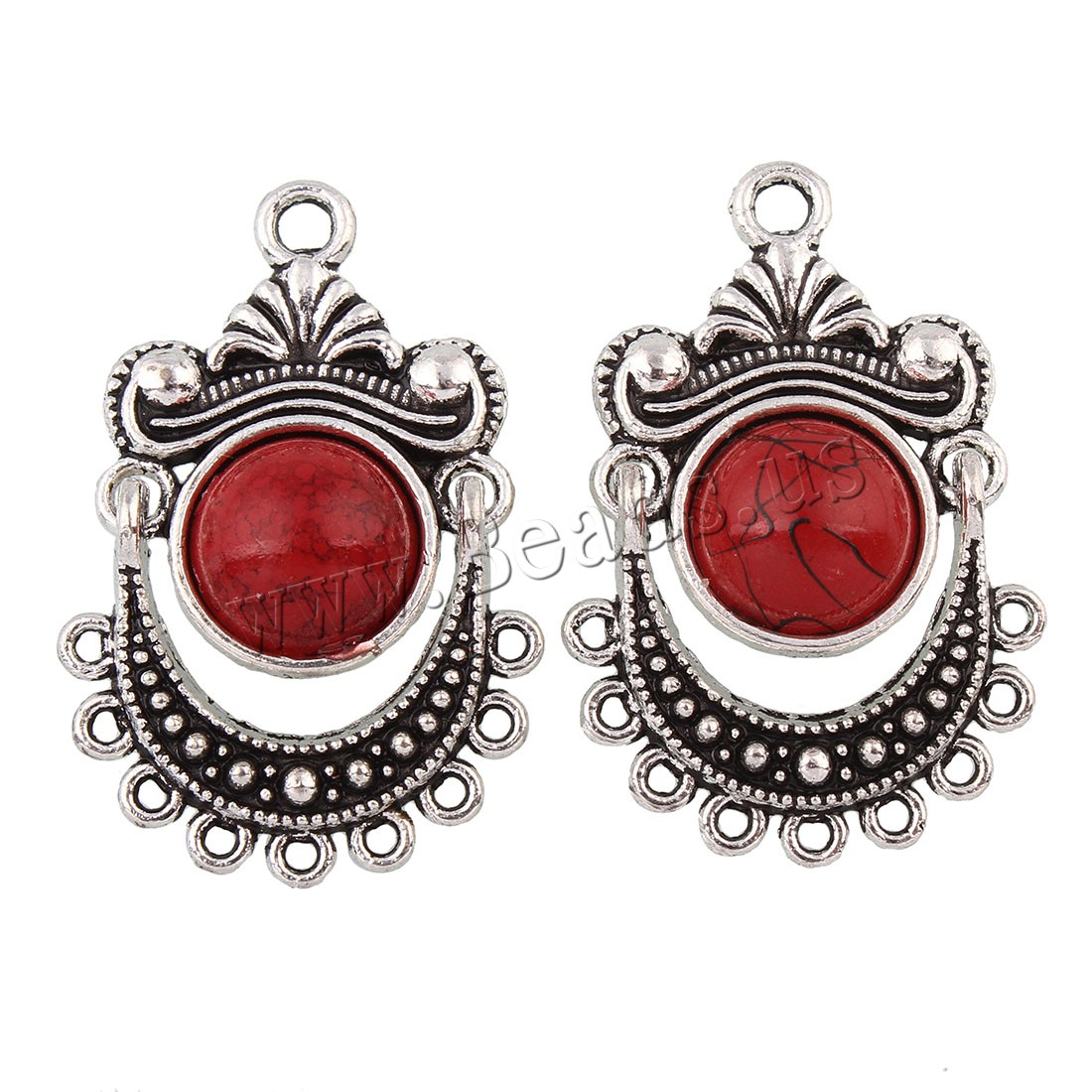 Buy Zinc Alloy Connector Turquoise antique silver color plated 1/9 loop lead & cadmium free 21.50x32x5mm Hole:Approx 1.5mm 20PCs/Bag Sold Bag