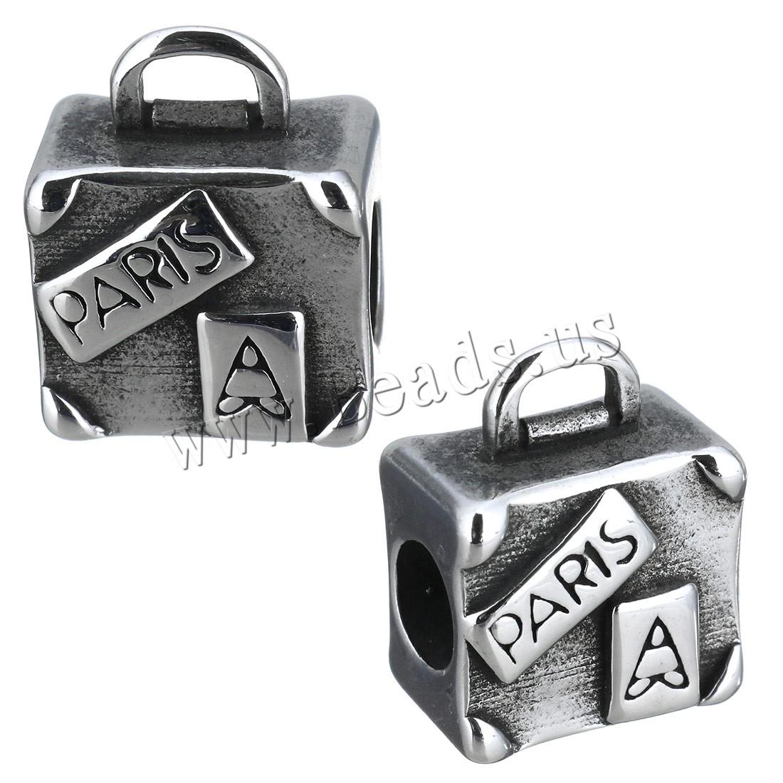Buy Stainless Steel Bail Beads Handbag letter pattern & blacken 12x15x8mm Hole:Approx 5mm 4x2mm 1 Sold Lot