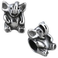 Edelstahl-Perlen mit großem Loch, Edelstahl, Elephant, Schwärzen, 11x14x11mm, Bohrung:ca. 5.5mm, 10PCs/Menge, verkauft von Menge