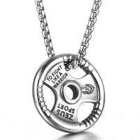 Herren-Strickjacke-Ketten-Halskette, Titanstahl, Lenkrad, poliert, Kastenkette & für den Menschen & Schwärzen, 35x35mm, verkauft per ca. 24 ZollInch Strang