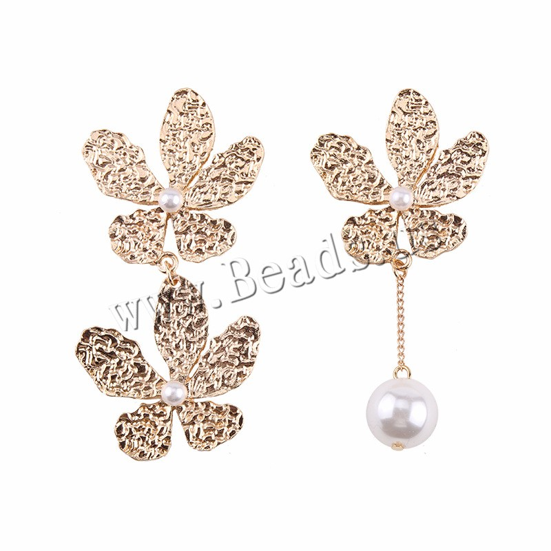 Buy Zinc Alloy Asymmetric Earrings Plastic Pearl brass post pin gold color plated woman nickel lead & cadmium free 38mm 70mm Sold Pair