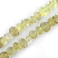 Natürliche gefärbten Quarz Perlen, Zitronenquarz, facettierte, 12-17x13-22x6-10mm, Bohrung:ca. 1.5mm, ca. 30PCs/Strang, verkauft per ca. 15 ZollInch Strang