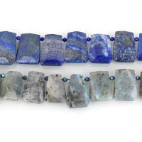 Mischedelstein Perlen, Edelstein, natürliche & verschiedenen Materialien für die Wahl & facettierte, 18-23x25-32x7-10mm, Bohrung:ca. 1.5mm, ca. 18-19PCs/Strang, verkauft per ca. 15 ZollInch Strang