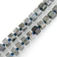 Labradorit Perlen, 6-8x12x12mm, Bohrung:ca. 1mm, ca. 37PCs/Strang, verkauft per ca. 15 ZollInch Strang