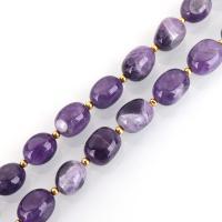 Natürliche Amethyst Perlen, oval, 14-15x10-12x9-11mm, Bohrung:ca. 1.5mm, ca. 23PCs/Strang, verkauft per ca. 15.5 ZollInch Strang