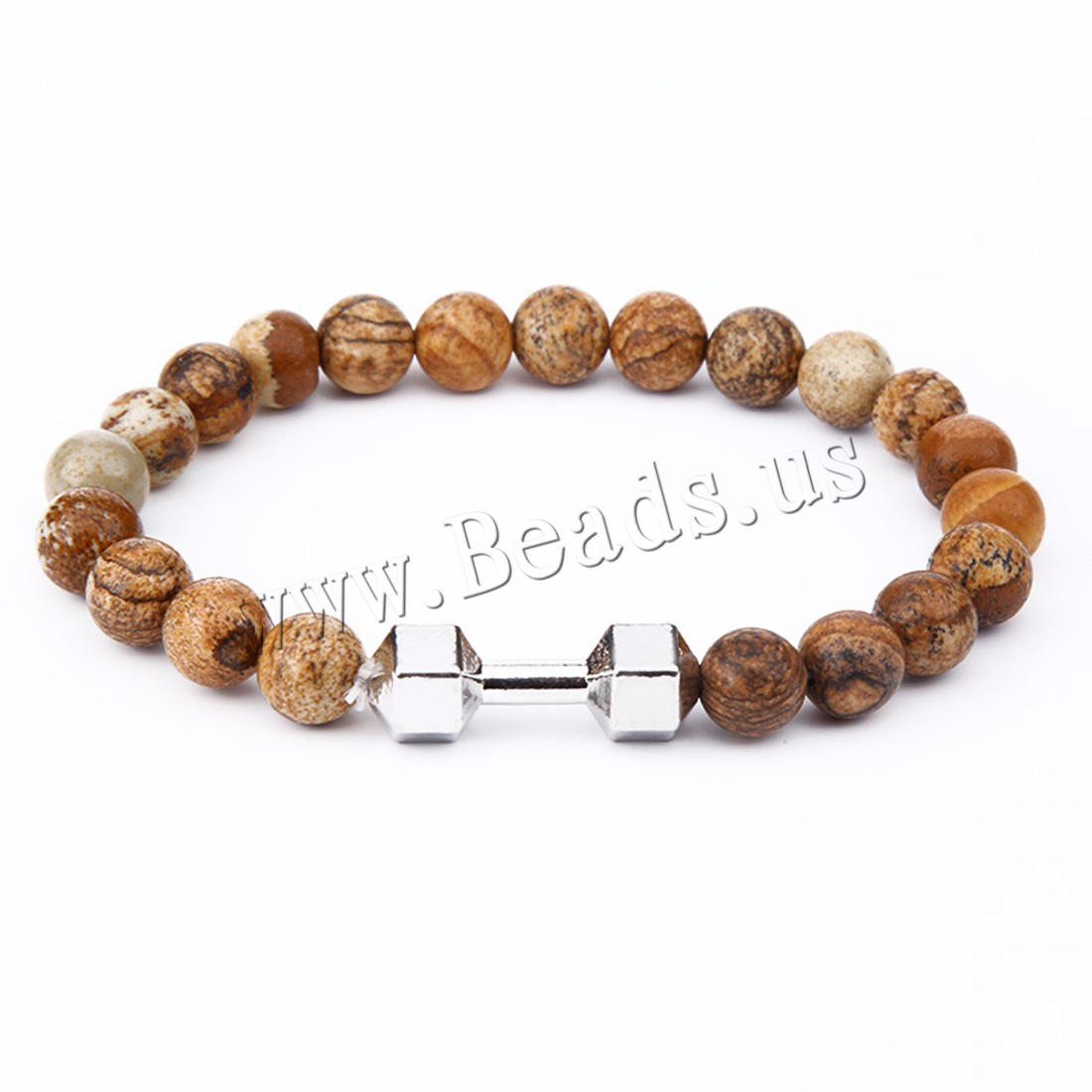 Buy Zinc Alloy Bracelet Picture Jasper plated Unisex colors choice 8mm Sold Per Approx 7.5 Inch Strand