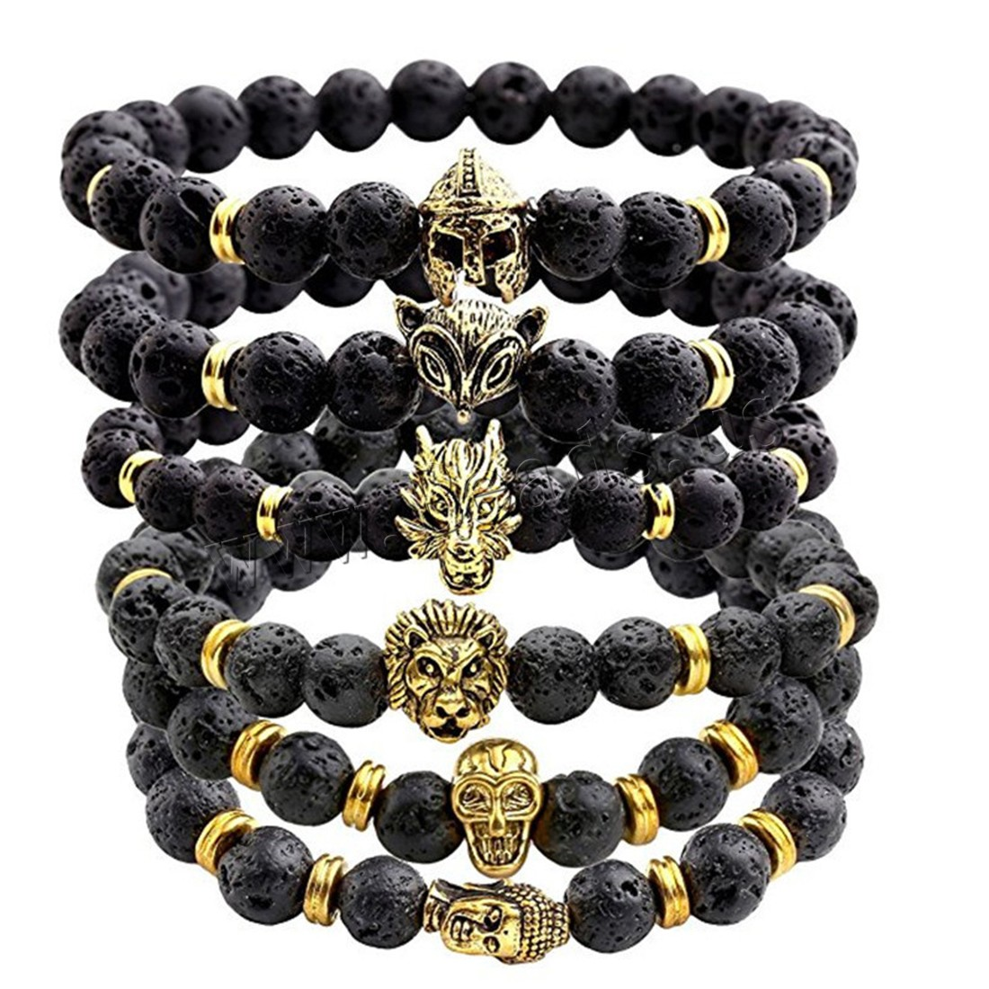 Buy Zinc Alloy Bracelet Lava gold color plated Unisex & different styles choice & blacken 8mm Sold Per Approx 7.5 Inch Strand