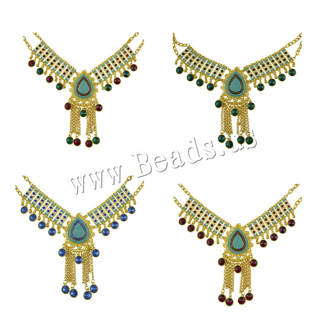 Buy Fashion Statement Necklace Zinc Alloy Crystal & Resin 1.9lnch extender chain gold color plated oval chain & woman colors choice nickel lead & cadmium free 120mm Sold Per Approx 17.3 Inch Strand