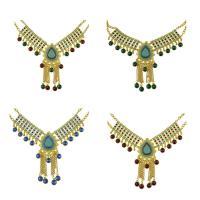 Mode Statement Halskette, Zinklegierung, mit Kristall & Harz, mit Verlängerungskettchen von 1.9lnch, goldfarben plattiert, Oval-Kette & für Frau, keine, frei von Nickel, Blei & Kadmium, 120mm, verkauft per ca. 17.3 ZollInch Strang