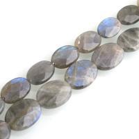 Labradorit Perlen, flachoval, verschiedene Größen vorhanden & facettierte, Bohrung:ca. 0.6mm, verkauft von Strang
