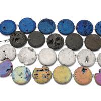 Laugh Rift Achat Perle, flache Runde, keine, 28-31x28-31x6-7mm, Bohrung:ca. 1.5mm, ca. 6PCs/Strang, verkauft per ca. 8 ZollInch Strang