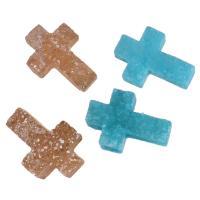 Eis-Quarz-Achat-Anhänger, Eisquarz Achat, Kreuz, druzy Stil, keine, 9-10x13-14x4-5mm, Bohrung:ca. 1.5mm, verkauft von PC