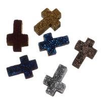 Eis-Quarz-Achat-Anhänger, Eisquarz Achat, Kreuz, druzy Stil, keine, 9-10x13-14x4.5mm, Bohrung:ca. 1.5mm, verkauft von PC