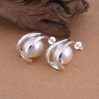 Messing Ohrstecker, mit Glasperlen, versilbert, für Frau, frei von Blei & Kadmium, 12x17mm, verkauft von Paar