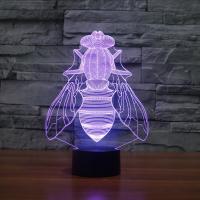 Nacht LED-Licht neben 3D-Lampe, ABS Kunststoff, mit Acryl, Fliege, automatisch die Farbe wechseln & verschiedene Stile für Wahl, 185x87x255mm, verkauft von setzen