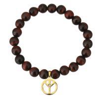 Natürliche Tiger Eye Armband, Tigerauge, mit Edelstahl, Frieden Logo, goldfarben plattiert, Armband  Bettelarmband & für Frau & mit Strass, 14x16mm, 8mm, verkauft per ca. 7 ZollInch Strang