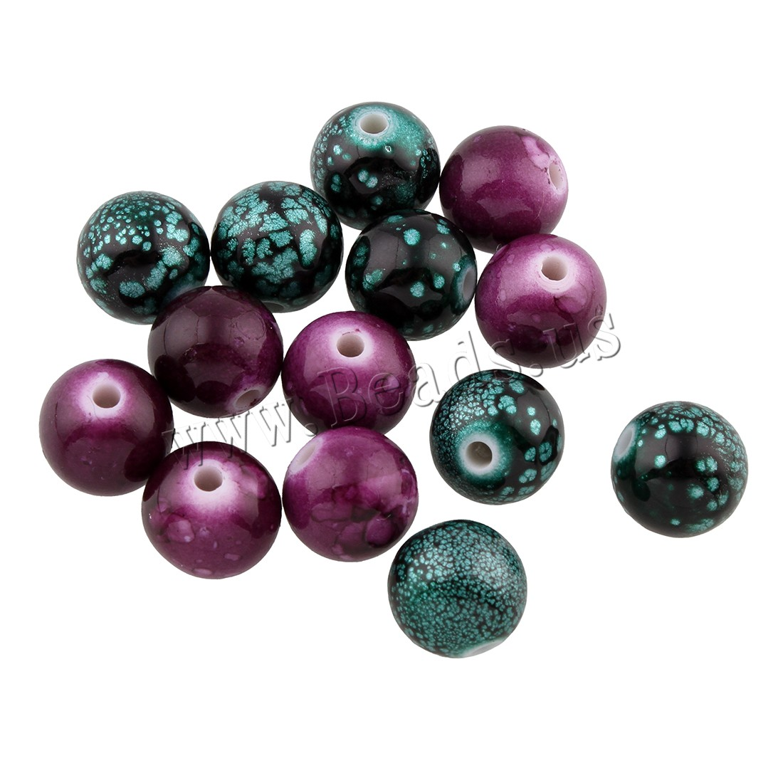 Buy Opaque Acrylic Beads Round solid color mixed colors 9x10x10mm Hole:Approx 1mm Approx 885PCs/Bag Sold Bag