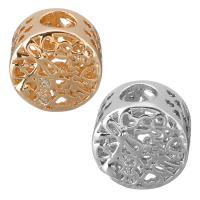 Messing European Perlen, flache Runde, plattiert, Micro pave Zirkonia & ohne troll & hohl, keine, 11.50x9mm, Bohrung:ca. 4.5mm, 20PCs/Menge, verkauft von Menge