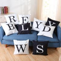 Kissenbezug, Leinen- Baumwolle, Quadrat, Kunstdruck, Buchstaben sind von A bis Z & verschiedene Muster für Wahl, 450x450mm, verkauft von PC