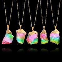 Quarz Halskette, Messing, mit Natürlicher Quarz, goldfarben plattiert, unisex & Oval-Kette, farbenfroh, frei von Nickel, Blei & Kadmium, 35mm, verkauft per ca. 21.8 ZollInch Strang