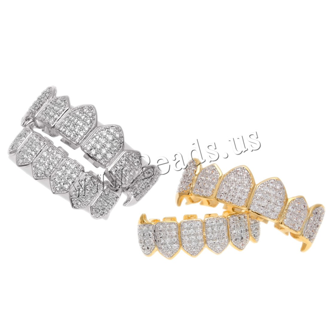 Buy Brass Hip Hop Teeth Grillz plated Unisex & rhinestone colors choice nickel lead & cadmium free 40x11mm 50x14mm Sold PC