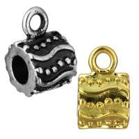 Edelstahl Kaution Perlen, Zylinder, plattiert, keine, 9x15x10mm, Bohrung:ca. 2.5mm, 5mm, 10PCs/Tasche, verkauft von Tasche
