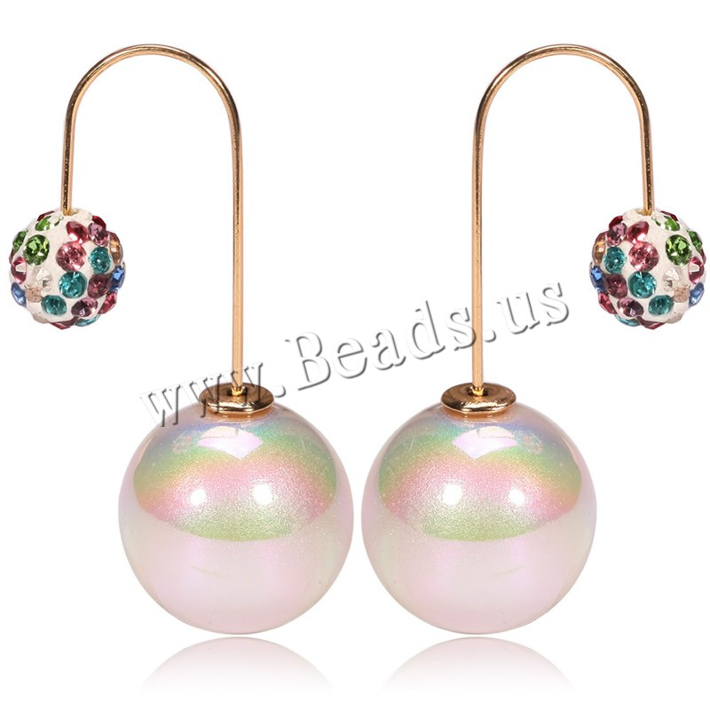 Buy Acrylic Double Pearl Hoop Stud Earring Rhinestone Clay Pave iron earring hook Round imitation pearl & woman colors choice 8x15mm Sold Pair