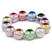 Aluminium Perlen, Trommel, Spritzlackierung, großes Loch, gemischte Farben, 11x13mm, Bohrung:ca. 5.2mm, 30PCs/Tasche, verkauft von Tasche