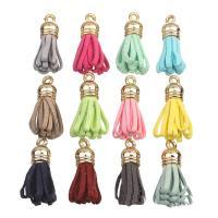 Baumwollsamt Anhänger, mit Zinklegierung Stiftöse, QuasteTroddel, goldfarben plattiert, keine, 13x29mm, Bohrung:ca. 2-3mm, 20PCs/Tasche, verkauft von Tasche