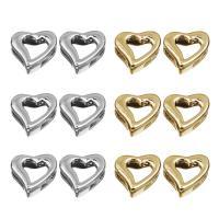 Zinklegierung Gleiten Charme Zubehör, Herz, plattiert, keine, frei von Blei & Kadmium, 9x10mm, Bohrung:ca. 2.5x6mm, 30PCs/Tasche, verkauft von Tasche
