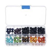 Natürliche Lava Perlen, mit Edelstein, rund, 8mm, Bohrung:ca. 1mm, verkauft von Box