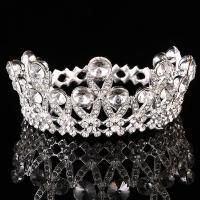 Zinklegierung Tiaras, mit Kristall, Krone, silberfarben plattiert, für Braut & facettierte & mit Strass, frei von Blei & Kadmium, 70mm, verkauft von PC