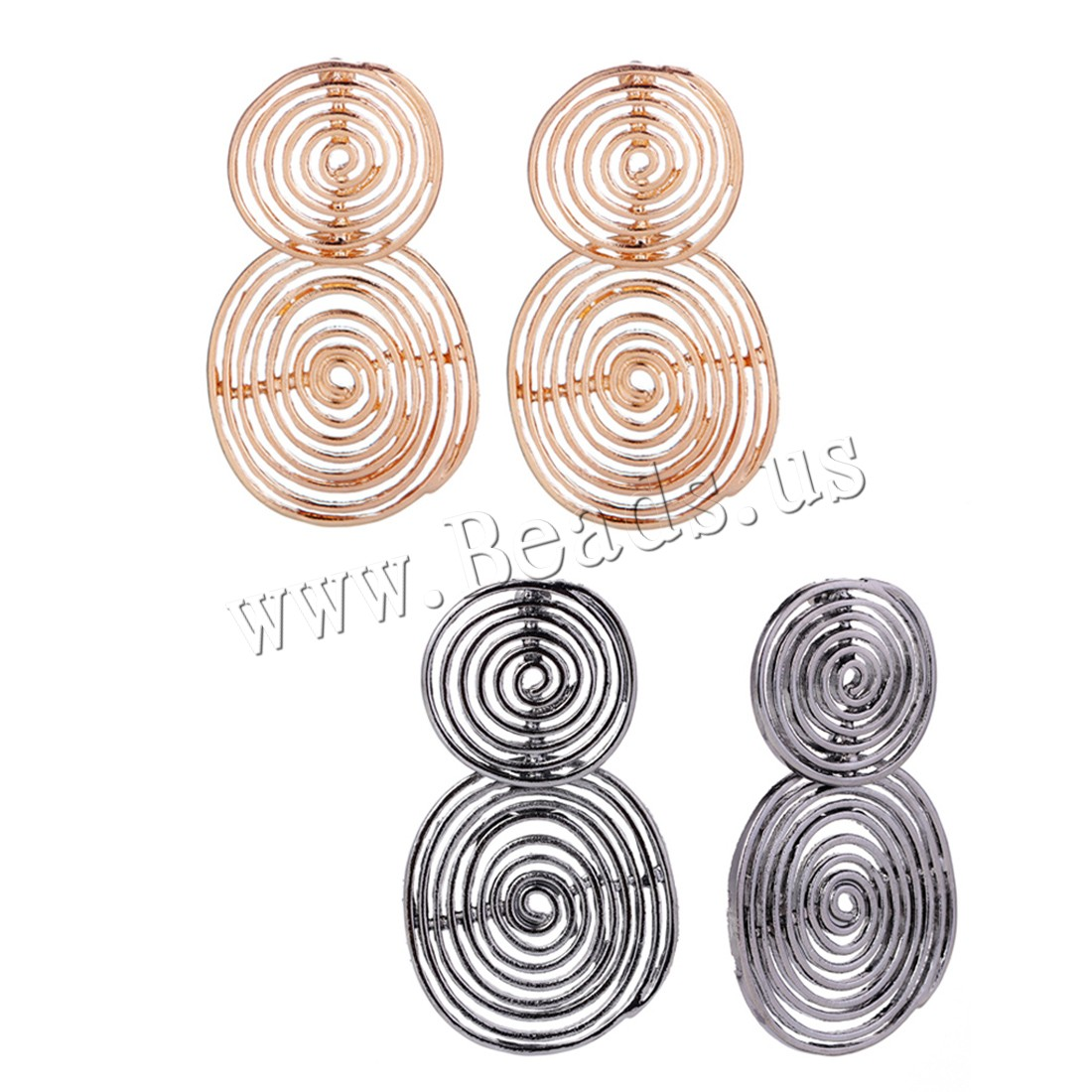 Buy Zinc Alloy Earrings plated woman colors choice 36x63mm Sold Pair