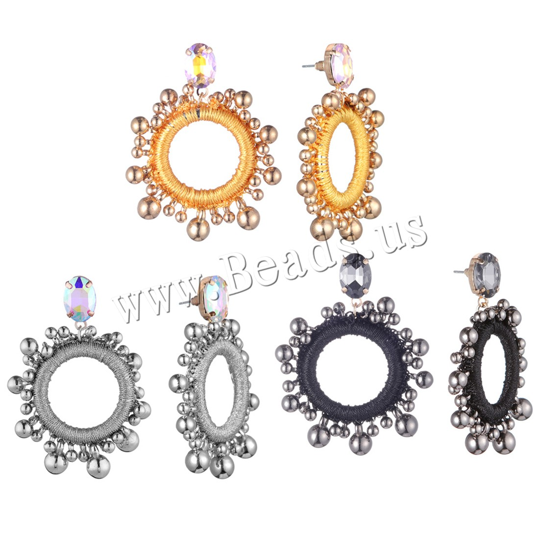 Buy Zinc Alloy Drop Earring Plastic plated woman & rhinestone colors choice 45x60mm Sold Pair