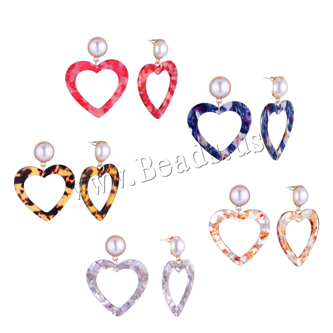 Buy Zinc Alloy Drop Earring Acetate Sheet & Plastic Pearl Heart 18K imitated gold plated woman colors choice 41x60mm Sold Pair
