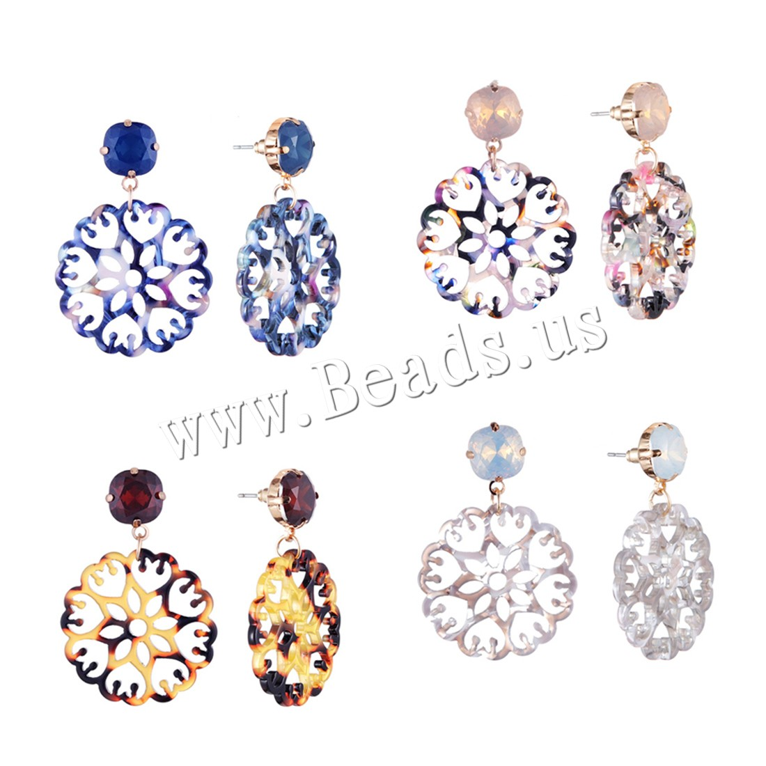 Buy Zinc Alloy Drop Earring Acetate Sheet 18K imitated gold plated woman & rhinestone colors choice 34x50mm Sold Pair