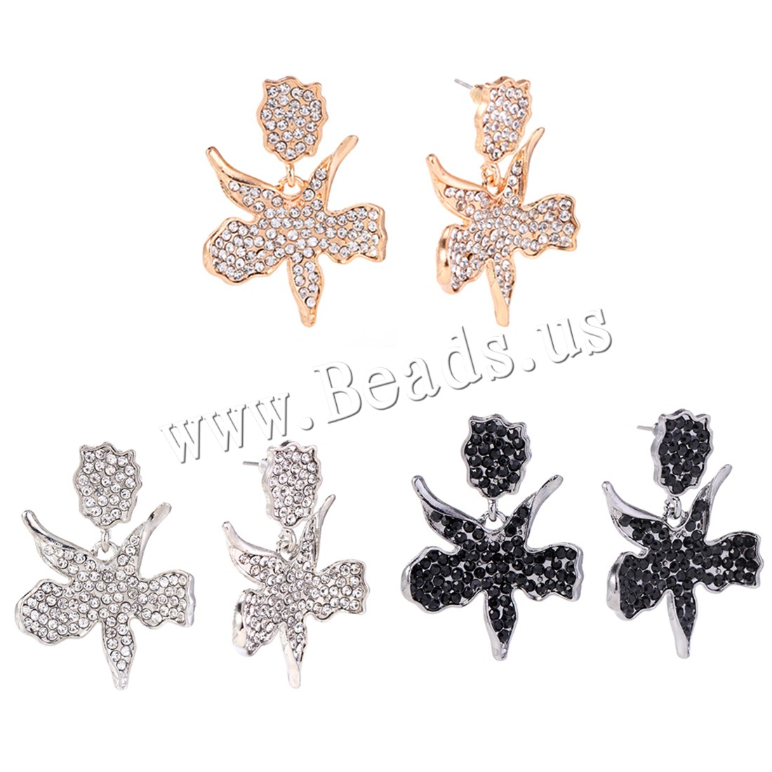 Buy Zinc Alloy Earrings plated woman & rhinestone colors choice 31x45mm Sold Pair