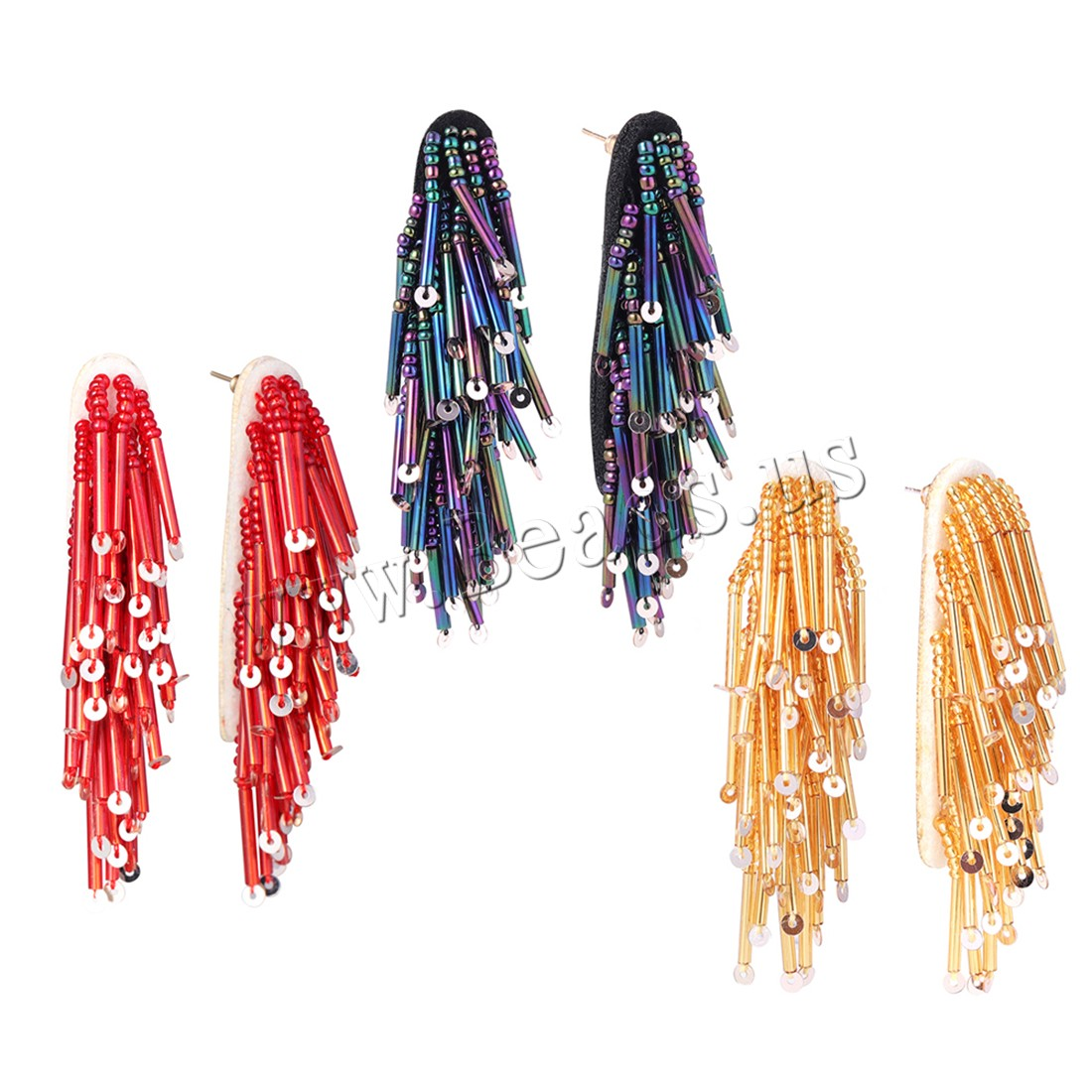 Buy Seedbead Tassel Earring Zinc Alloy gold color plated woman colors choice 10x70mm Sold Pair