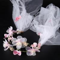 Seidenspinnerei Haarband, mit Gaze & PE Schaumstoff, Blume, handgemacht, für Braut, 200mm, verkauft von PC