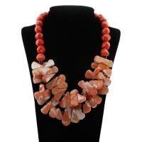 Coral Strickjacke-Kette Halskette, Natürliche Koralle, Messing Federring Verschluss, Tropfen, für Frau, keine, 17x32x4mm, verkauft per ca. 25 ZollInch Strang