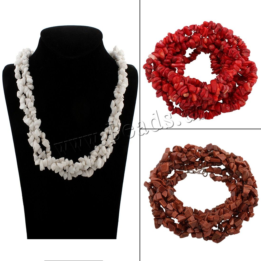 Buy Sweater Chain Necklace Mixed Material brass lobster clasp Nuggets different materials choice & woman 5x4x3mm-8x5x5mm Sold Per Approx 26 Inch Strand