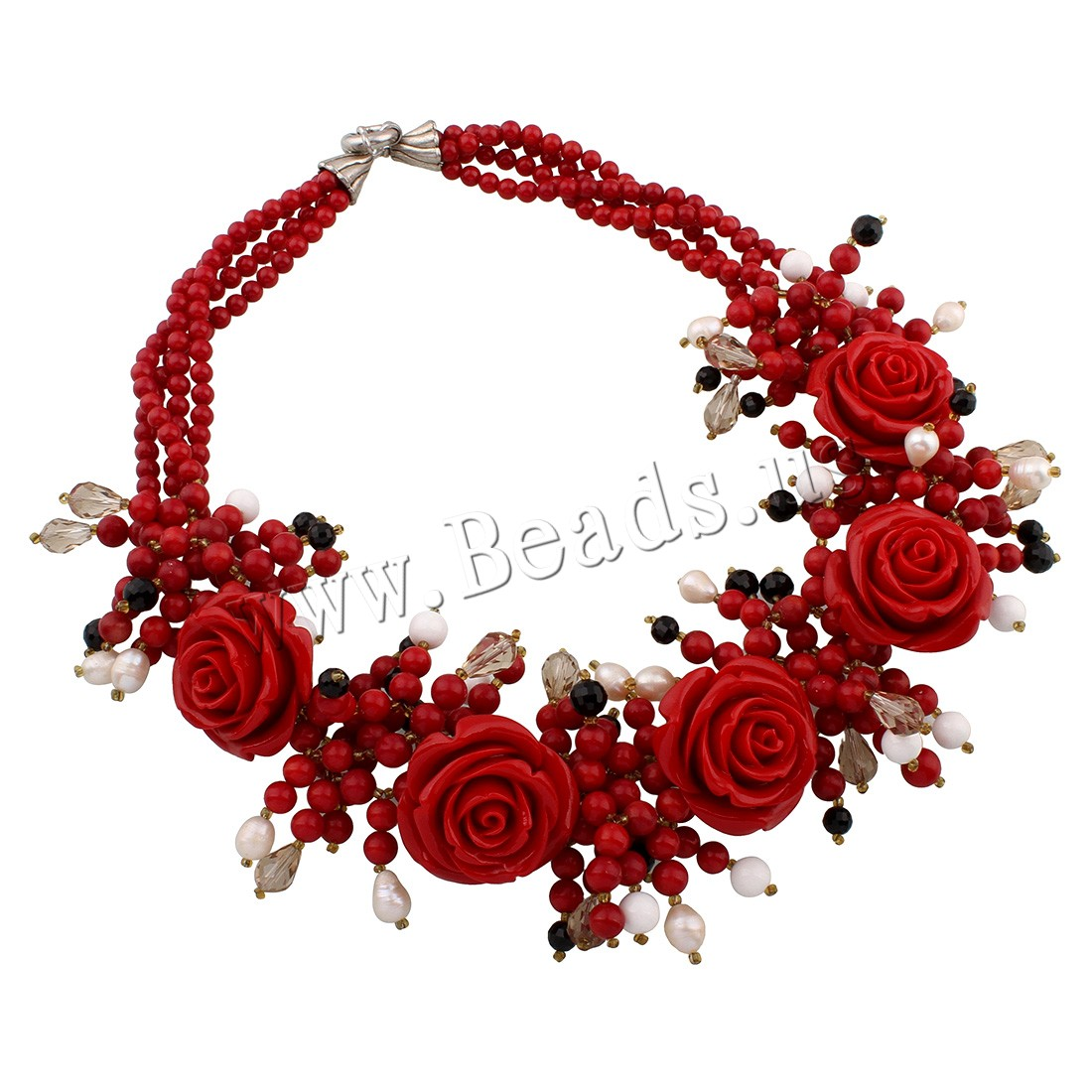 Buy Coral Necklace Natural Coral Freshwater Pearl & Crystal zinc alloy spring ring clasp woman & faceted colors choice 32x36x22mm Sold Per Approx 22 Inch Strand