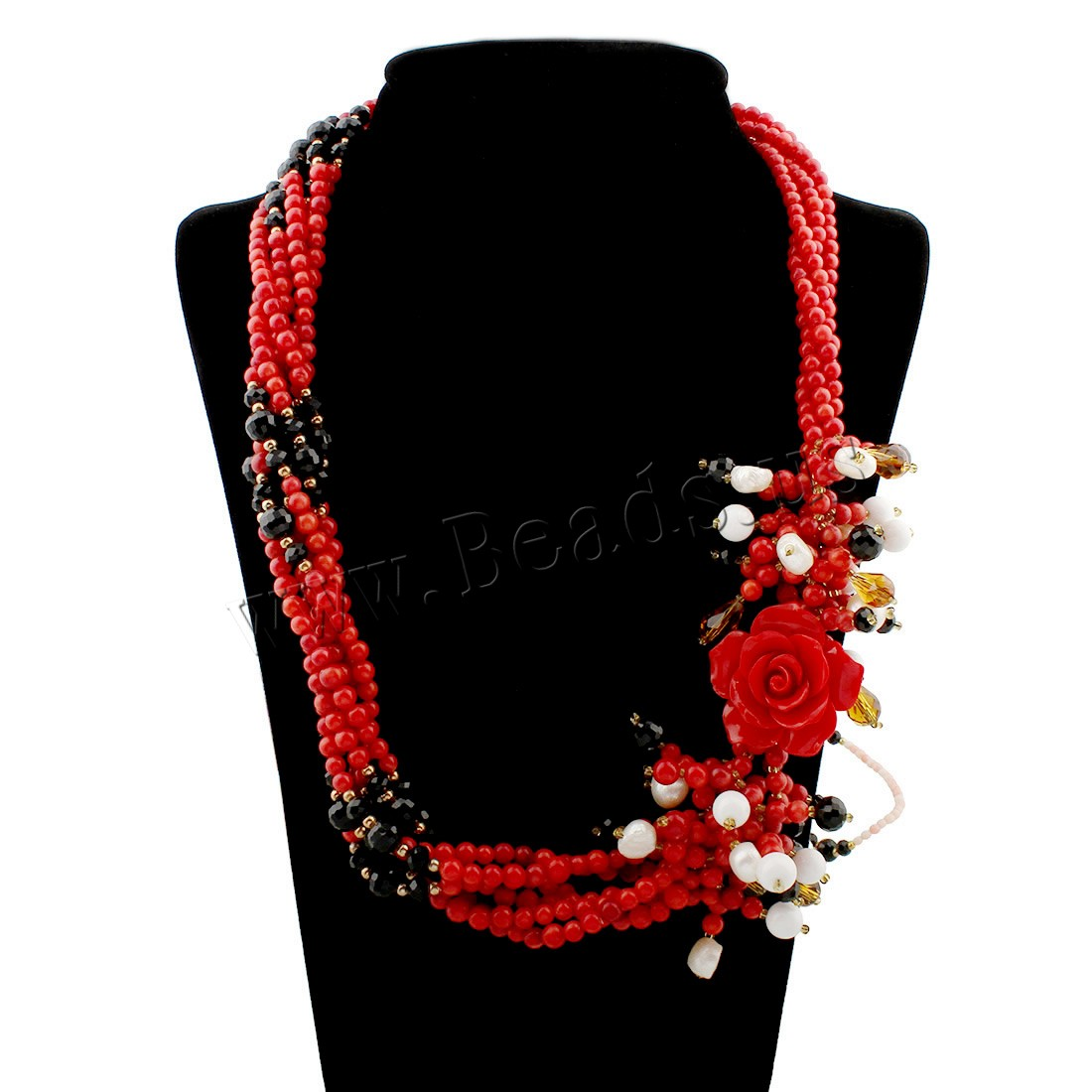 Buy Coral Sweater Chain Necklace Natural Coral Freshwater Pearl & Crystal zinc alloy spring ring clasp woman & faceted 33x35x13mm Sold Per Approx 23.5 Inch Strand